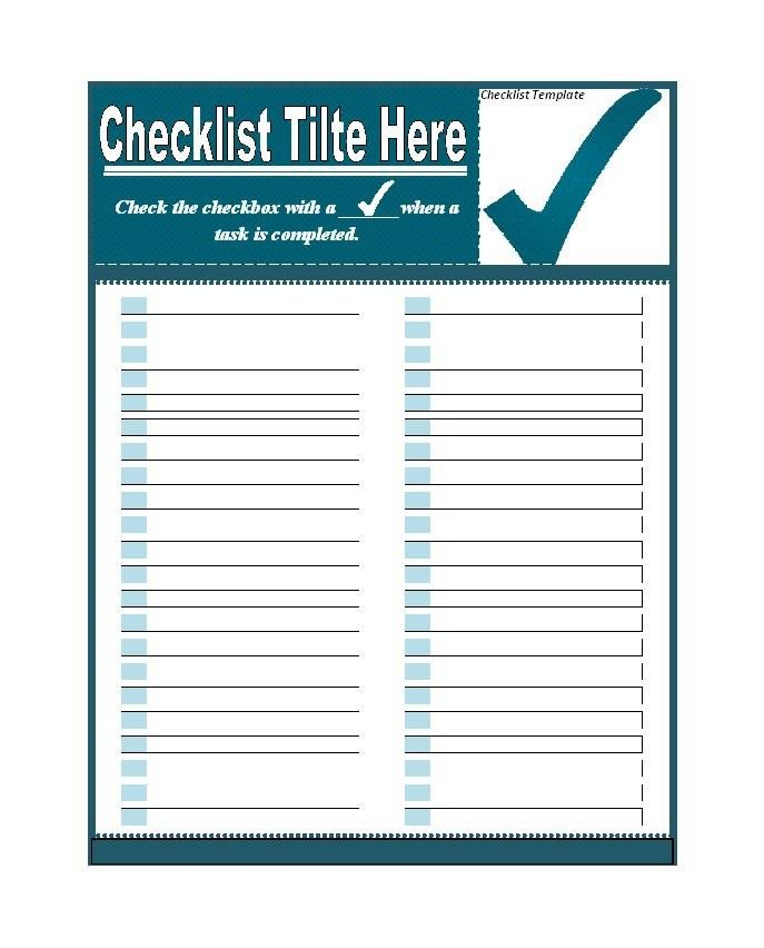 Checklist Word Template