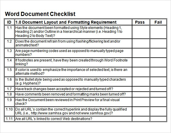 Checklist Word Template Sample Blank Checklist Template 27 Documents Download