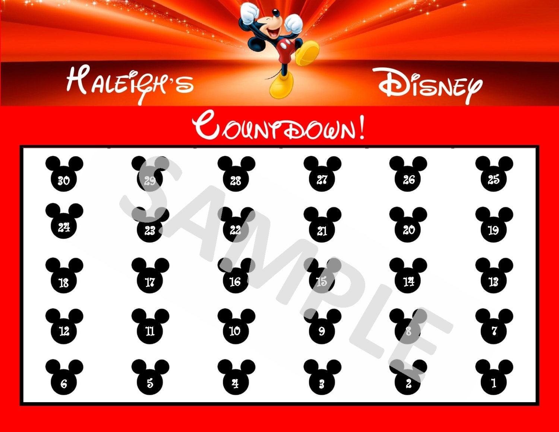 Custom Countdown Calendar Printable Countdown to Disney 30 Day Calendar Printable Pdf Download