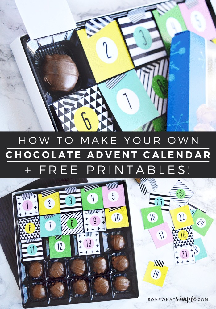 Custom Countdown Calendar Printable Diy Chocolate Christmas Advent Calendar Free Printables