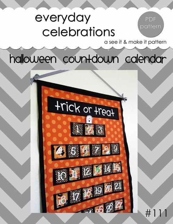 Custom Countdown Calendar Printable Halloween Countdown Calendar Pdf Pattern