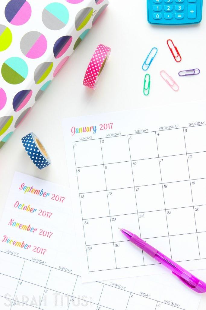 Custom Printable Calendars Custom Editable Free Printable 2017 Calendars Sarah Titus