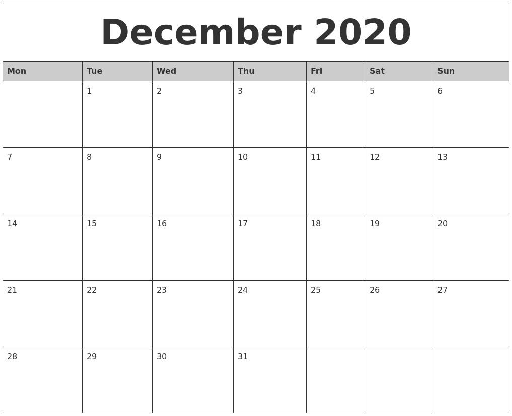 Dec 2020 Calendar Printable December 2020 Monthly Calendar Printable