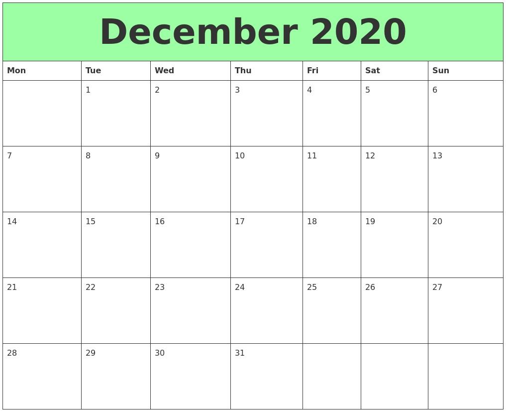 Dec 2020 Calendar Printable December 2020 Printable Calendars