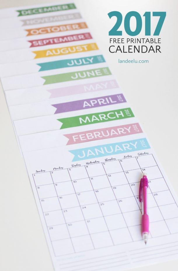 Free Printable Calendar for 2017 Get Organized