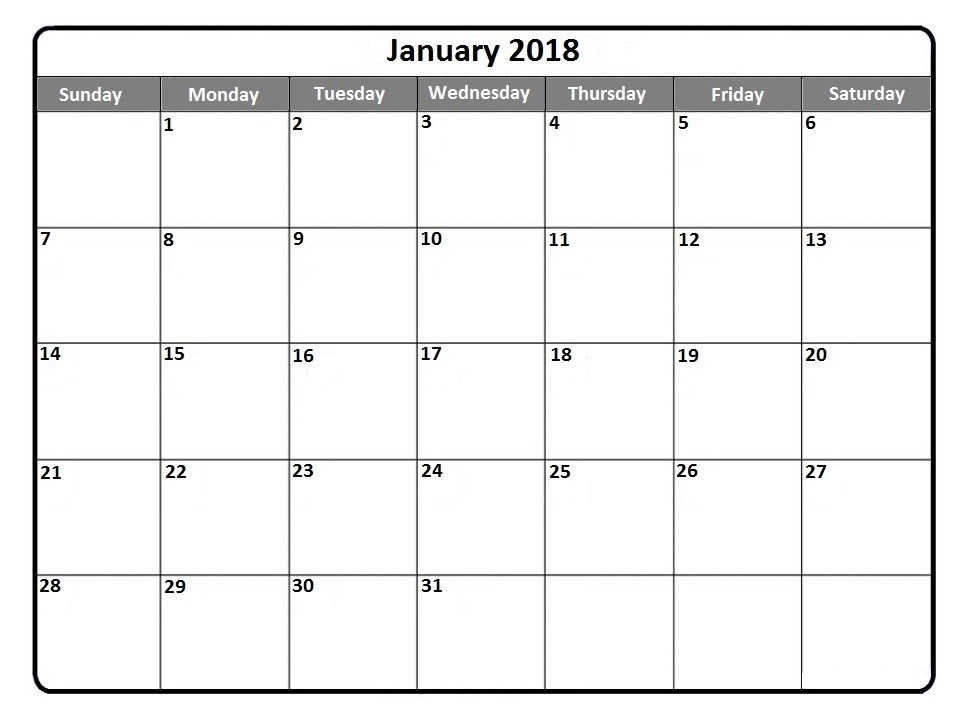 January 2018 Calendar Printable Holidays PDF Word