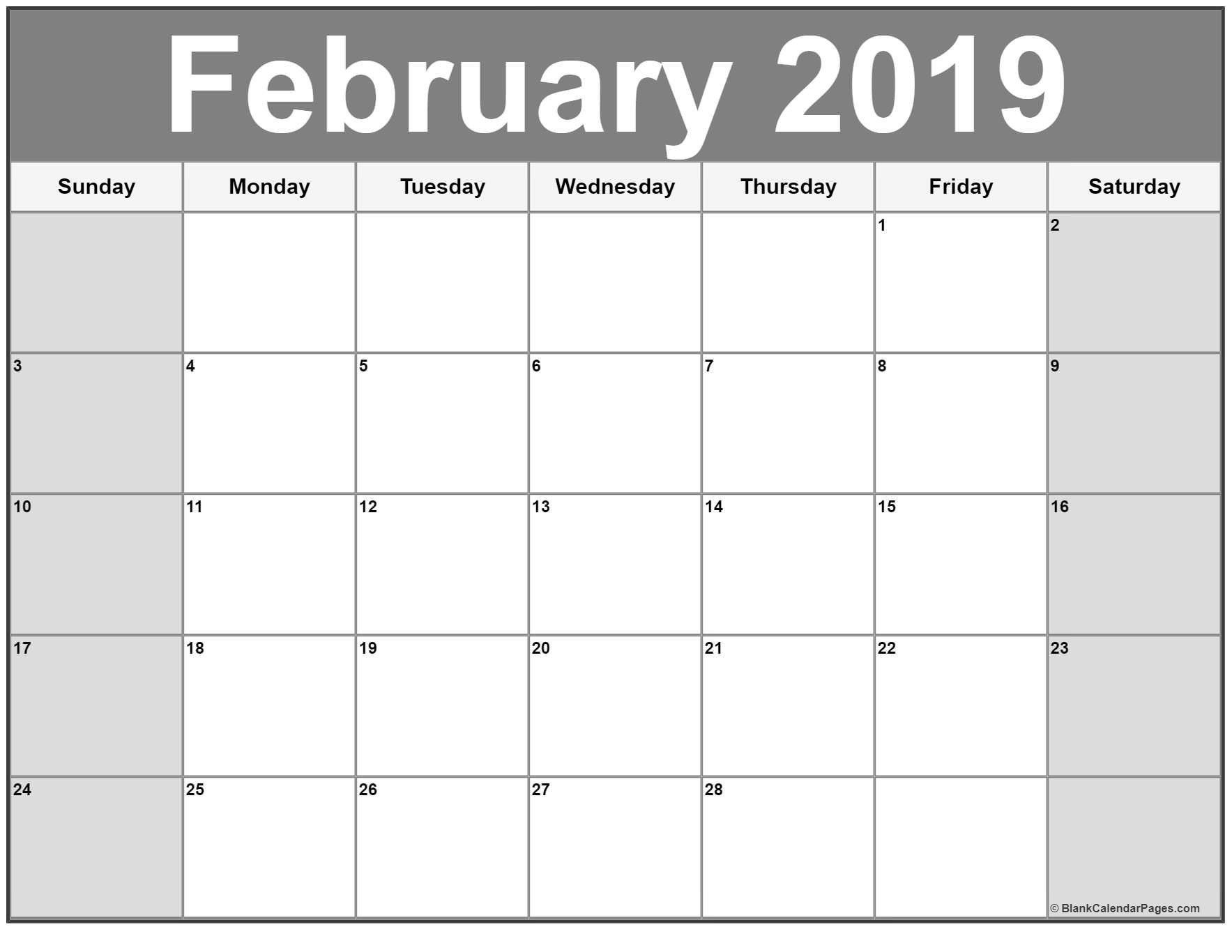 Feb 2019 Calendar Printable February 2019 Calendar