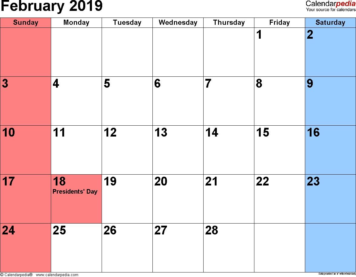 Feb 2019 Calendar Printable February 2019 Calendars for Word Excel & Pdf