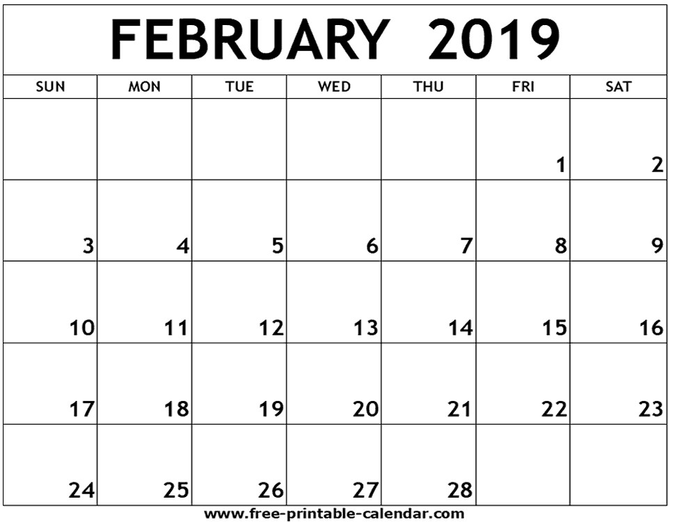 Feb 2019 Calendar Printable February 2019 Printable Calendar