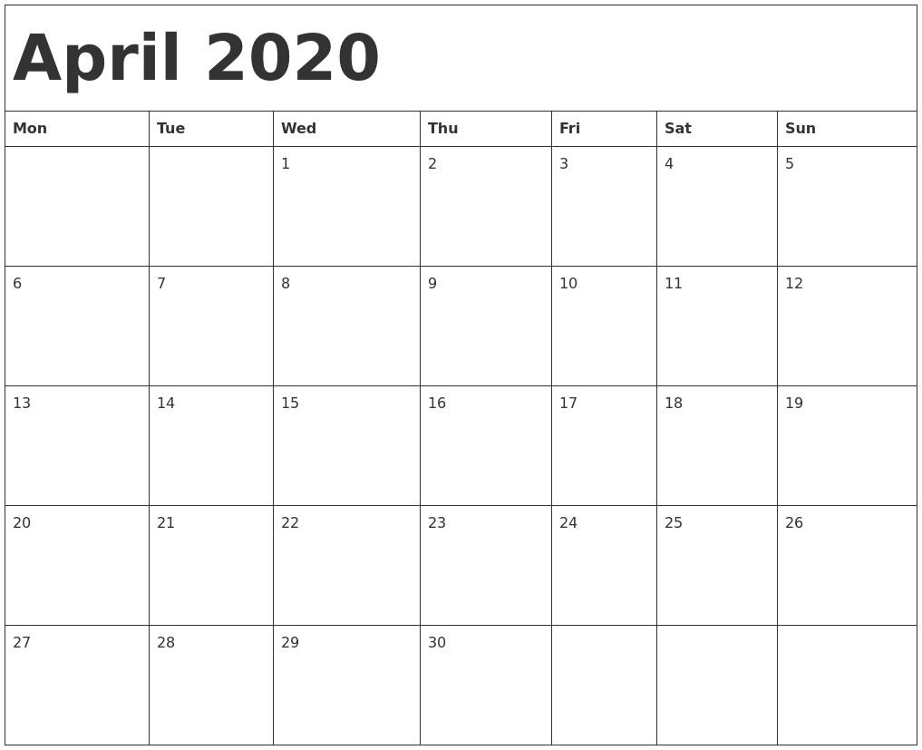February 2020 Blank Printable Calendar April 2020 Calendar Template