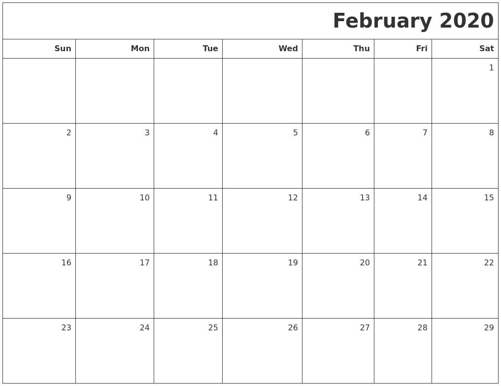April 2020 Word Calendar