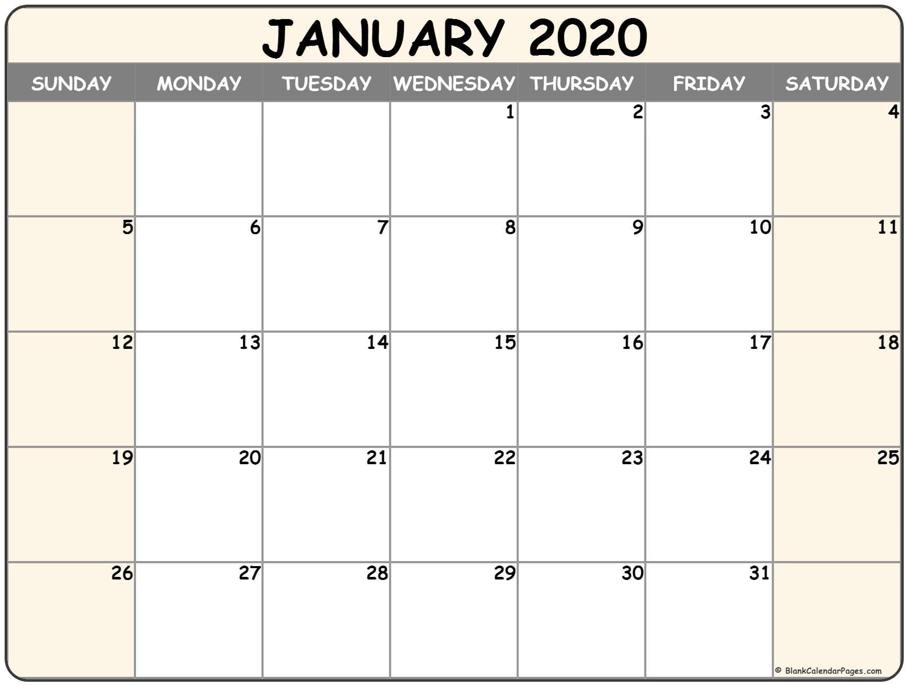 February 2020 Blank Printable Calendar January 2020 Blank Calendar Collection