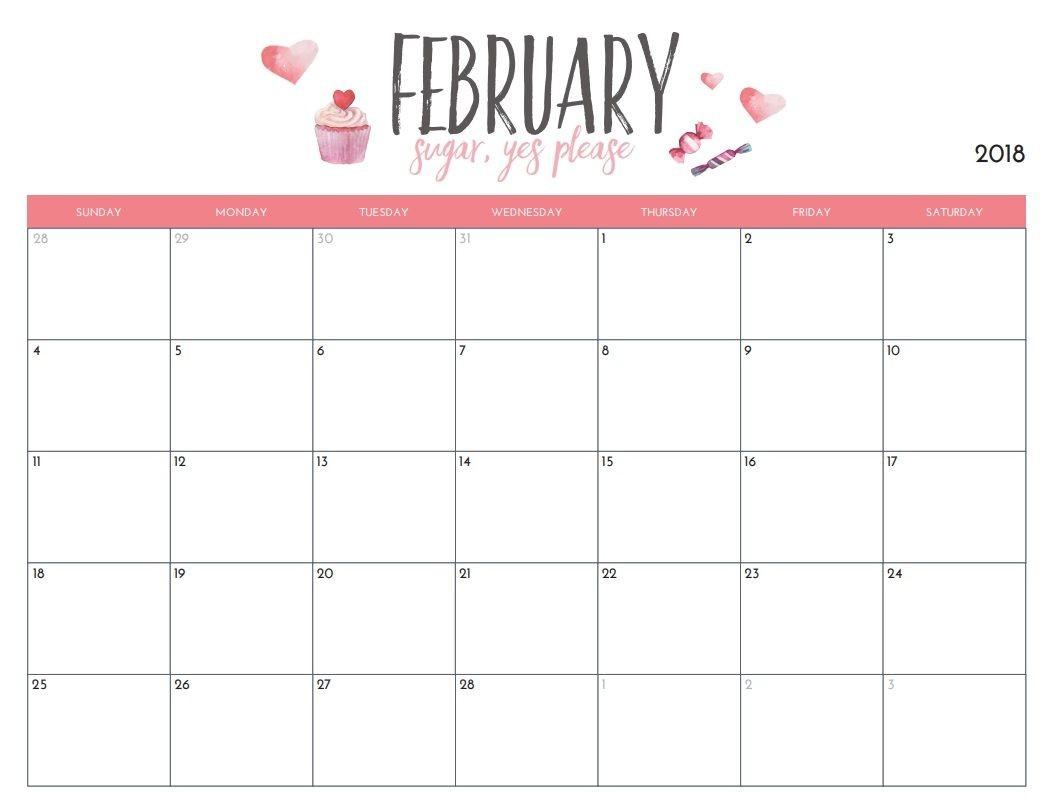 February 2018 Blank Wall Calendar Template