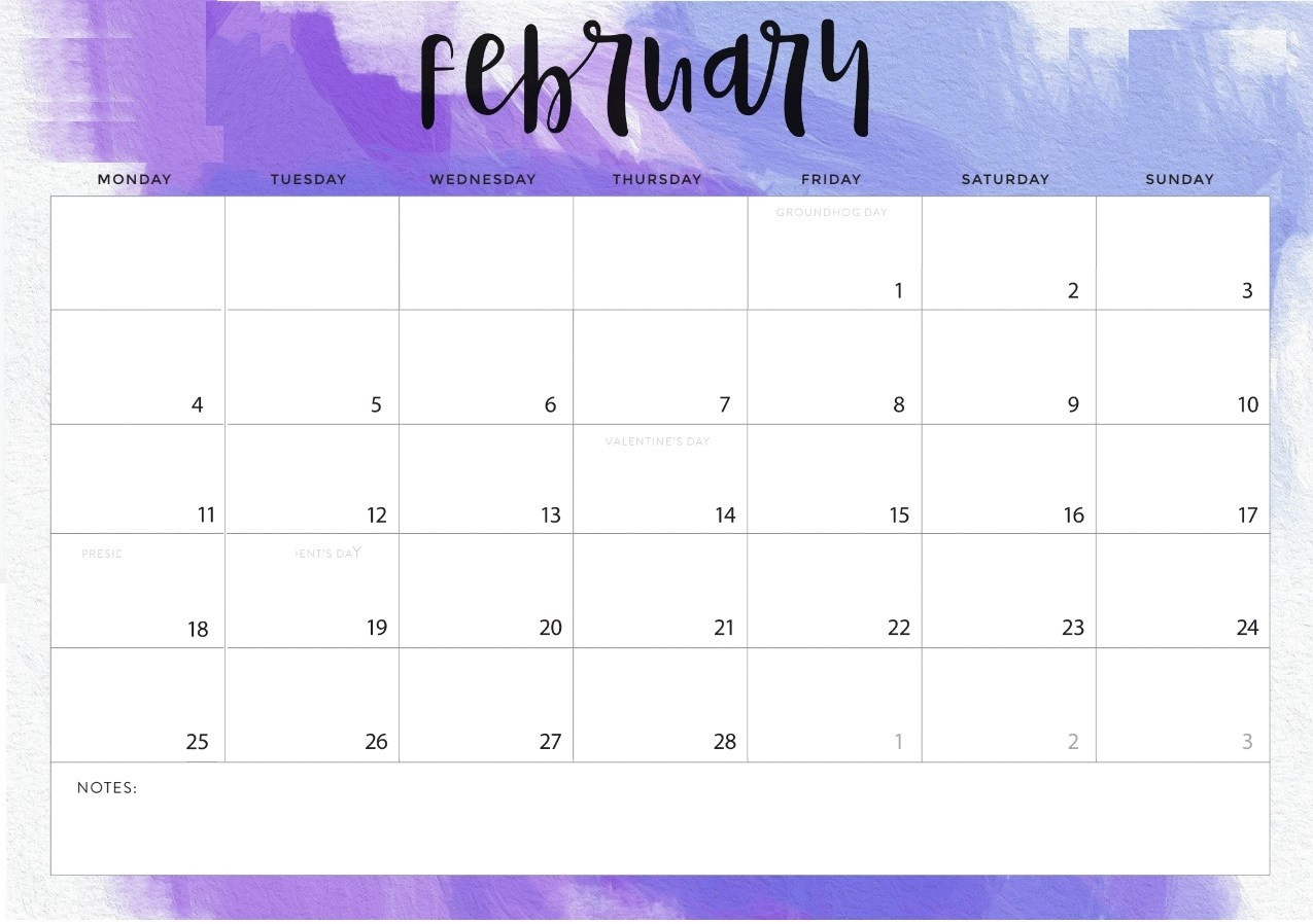February 2019 Printable Calendar Templates Free