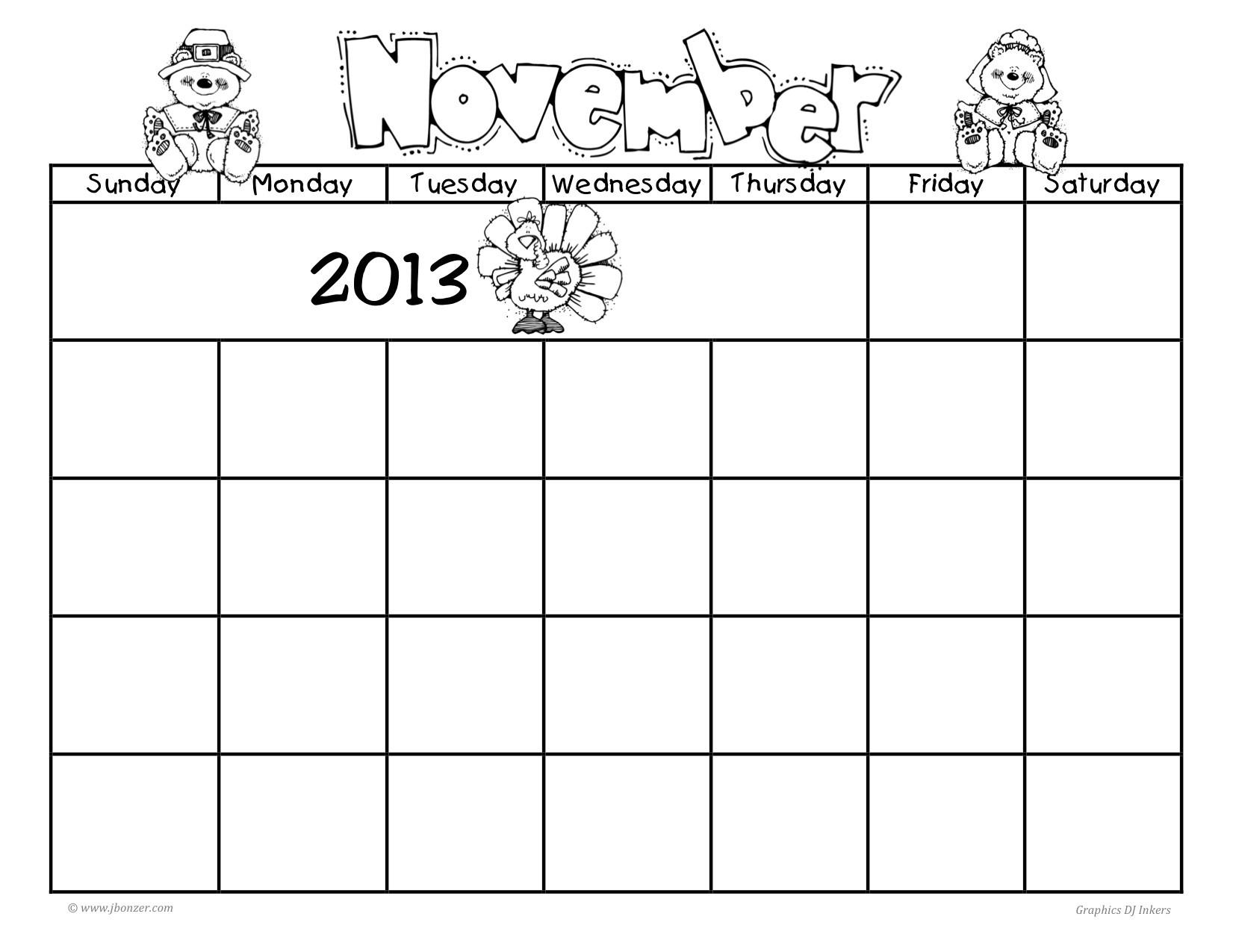 Fill In Blank Calendar November December