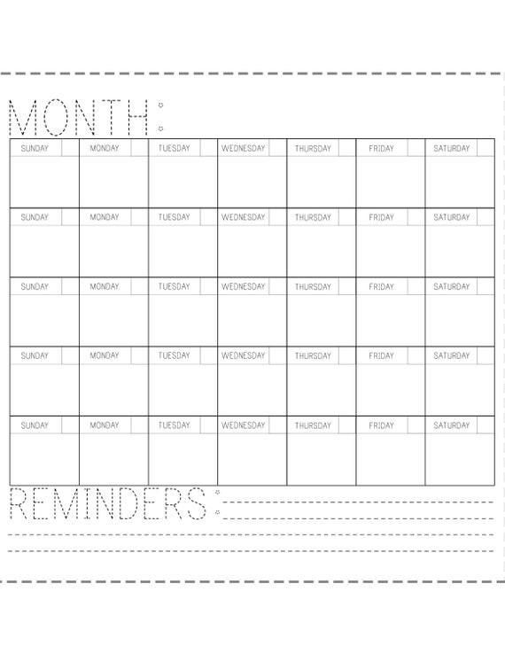 Fill In Blank Calendar