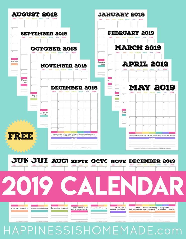 Free 2019 Printable Monthly Calendar 2019 Free Printable Calendar Printable Monthly Calendar