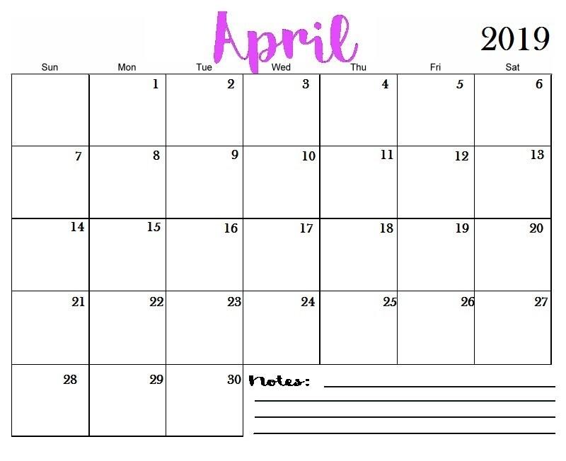 Free Blank Printable Calendar 2019 April 2019 Printable Calendar Templates Free Blank