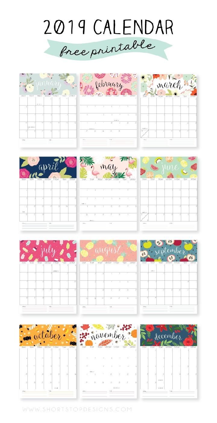 19 Free Printable 2019 Calendars The Suburban Mom