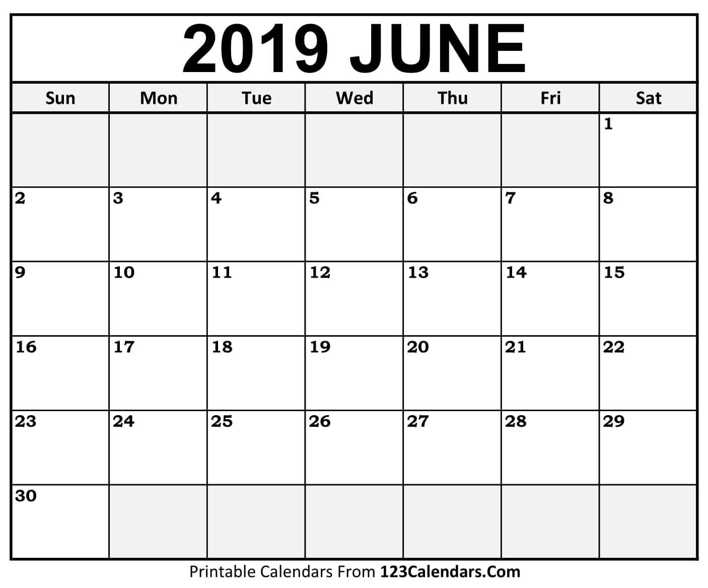 Free Printable 2019 Monthly Calendar with Holidays Free Printable 2019 Monthly Calendar with Holidays Word