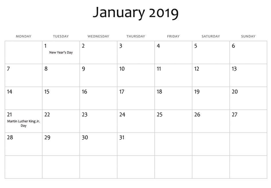 Free Printable 2019 Monthly Calendar with Holidays January 2019 Usa Holidays Calendar