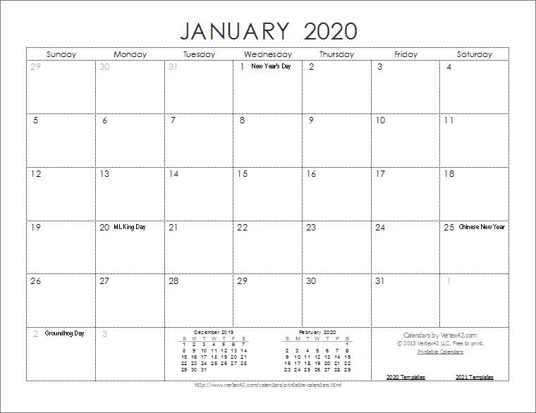 Free Printable 2020 Monthly Calendar Templates