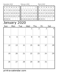 Free Printable 3 Month Calendar 2020