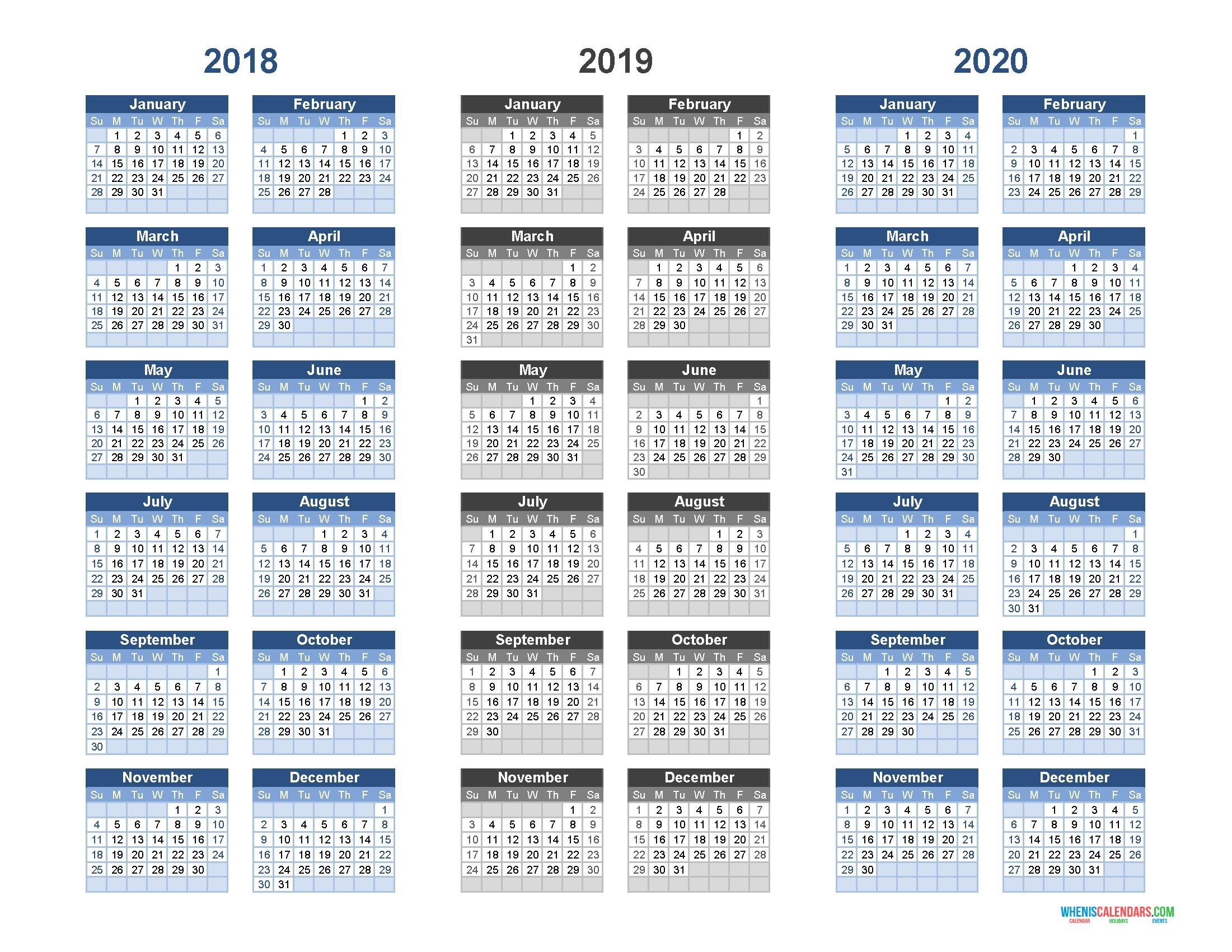 Free Printable 3 Month Calendar 2020 Printable Calendar 2018 2019 and 2020 3 Year Calendar