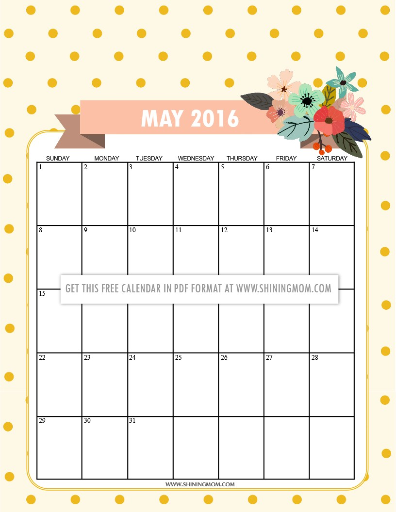 12 Free Printable Calendars for May 2016
