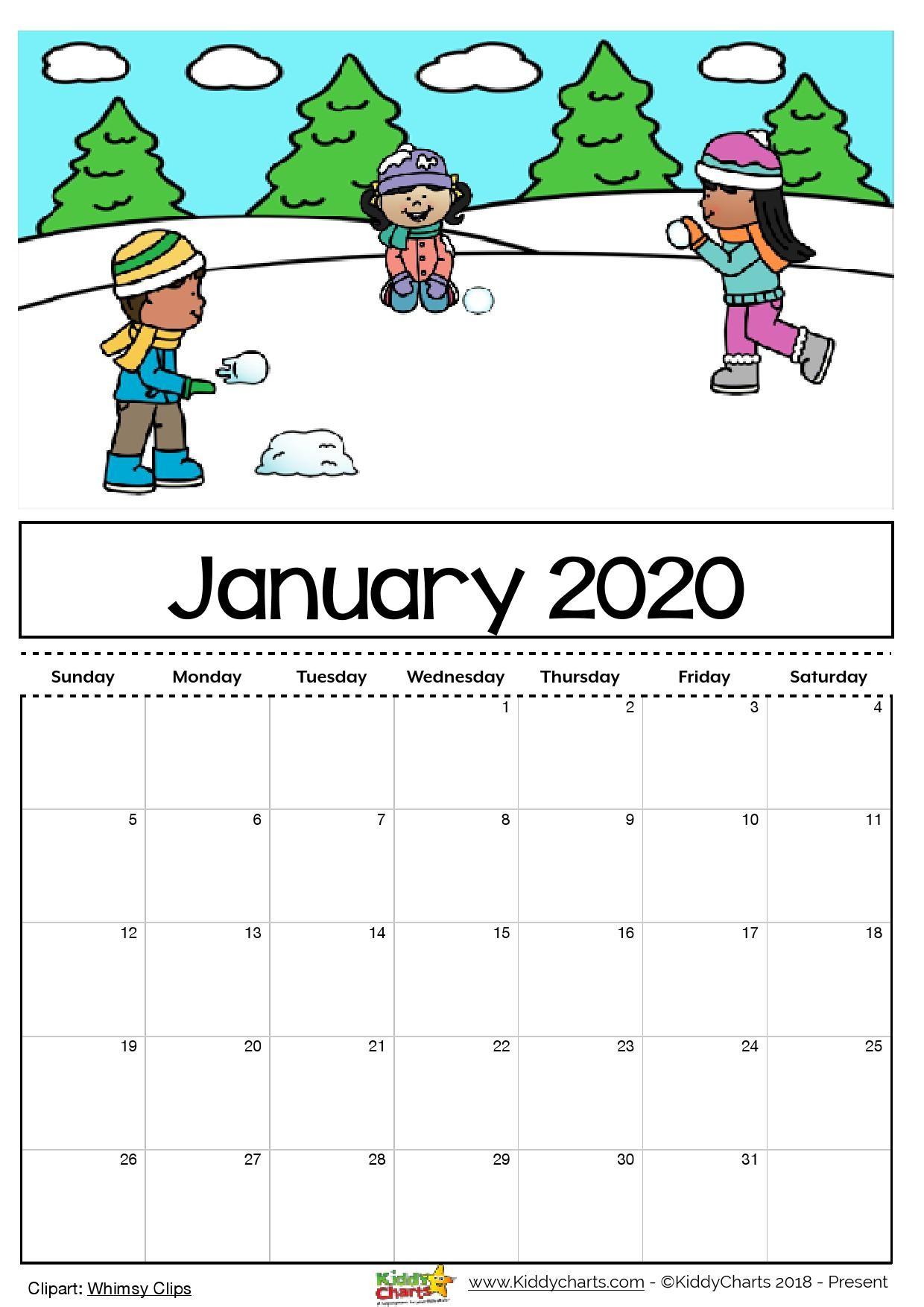 Free Printable January 2020 Calendar Free Printable 2020 Calendar for Kids Including An