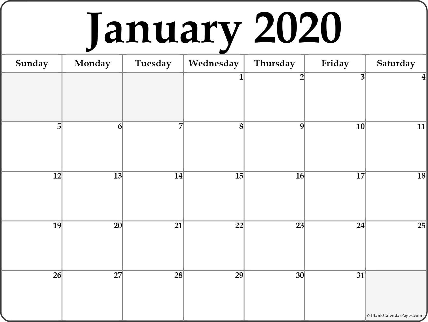 Free Printable January 2020 Calendar January 2020 Blank Calendar Collection