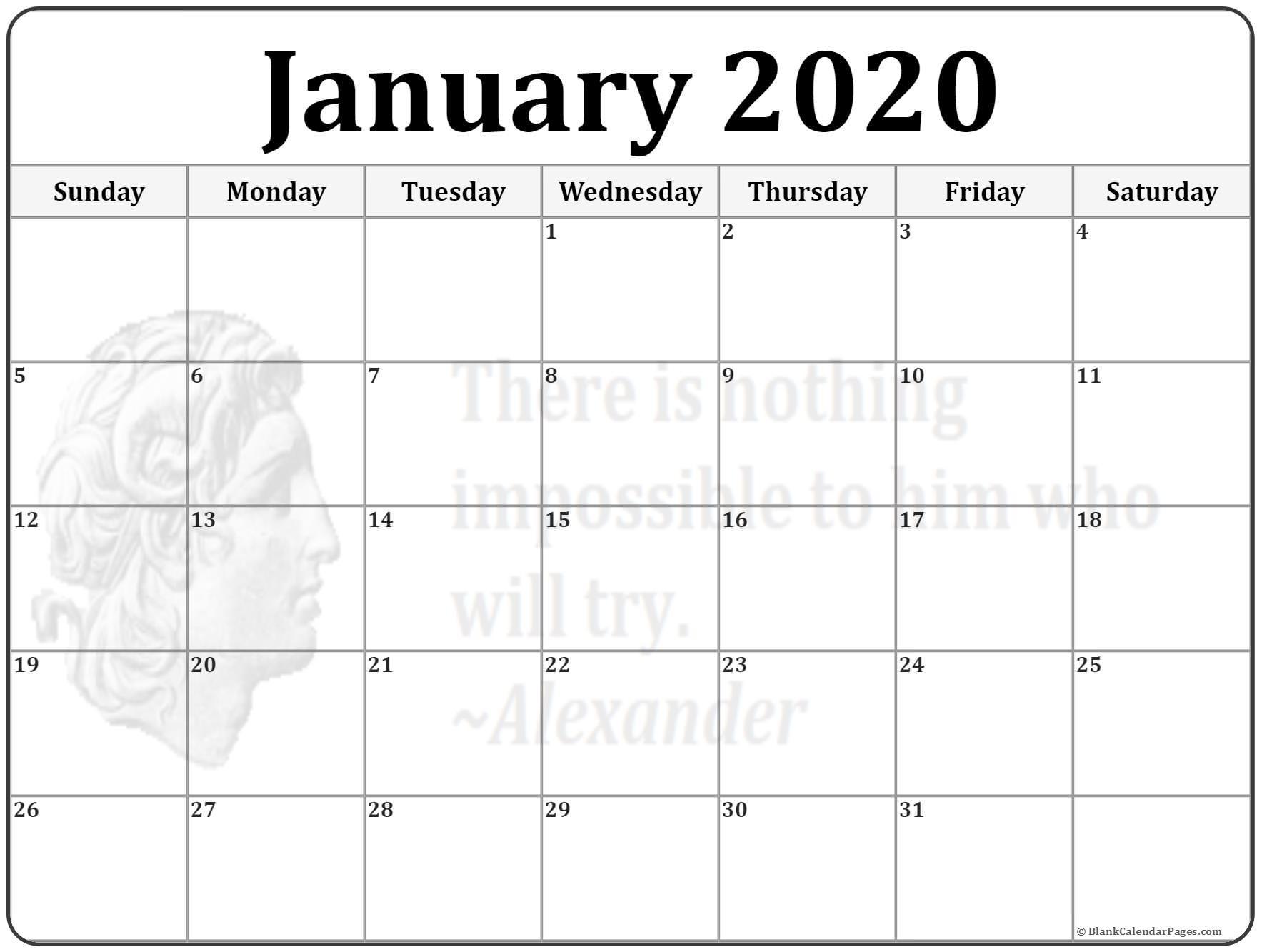 Free Printable January 2020 Calendar January 2020 Calendar