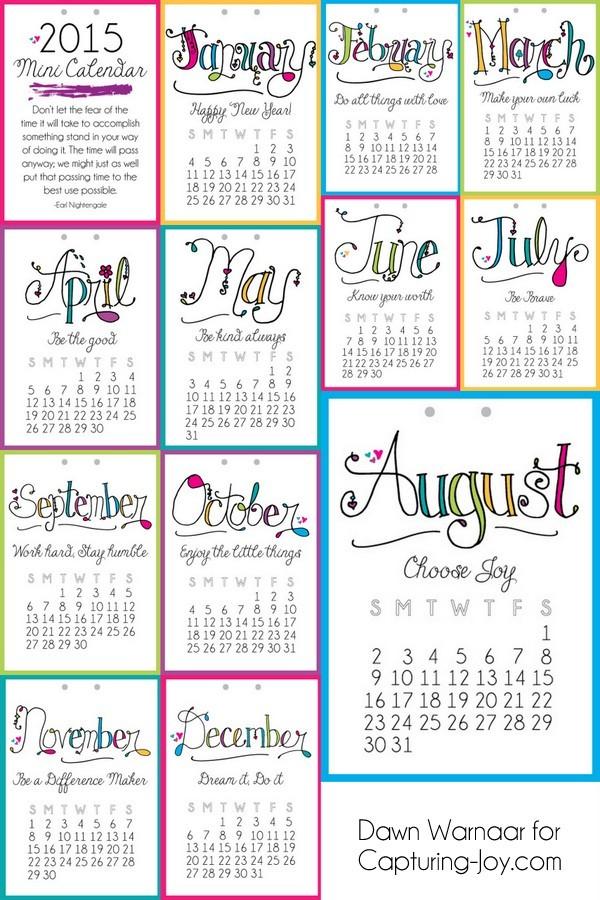 2015 Printable Mini Calendar Capturing Joy with Kristen Duke