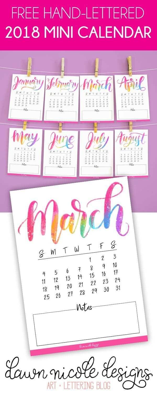 Free Printable Hand Lettered 2018 Mini Calendar