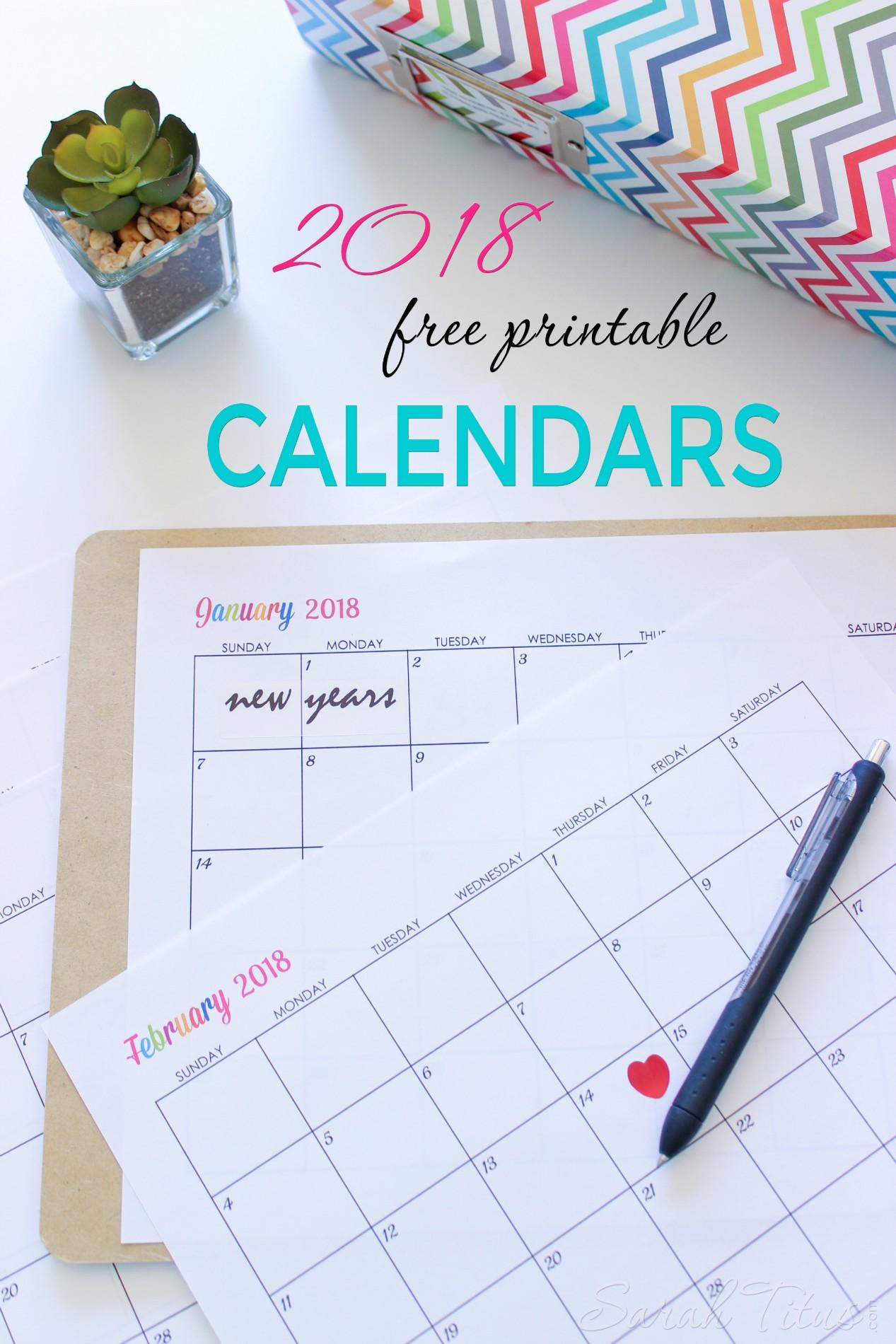 Free Printable Planner Calendar Custom Editable Free Printable 2018 Calendars Sarah Titus