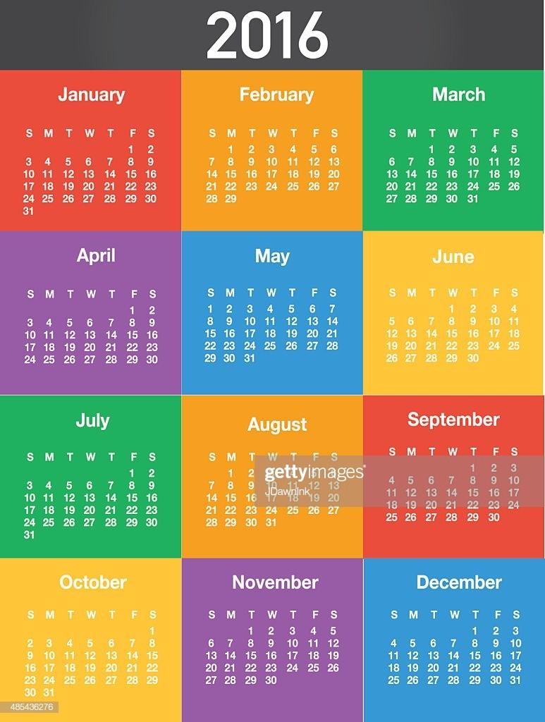 Generic Printable Calendar 2016 Generic Printable Calendar Design Template Layout