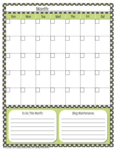 Organized Blog Planner free printable Generic Calendar