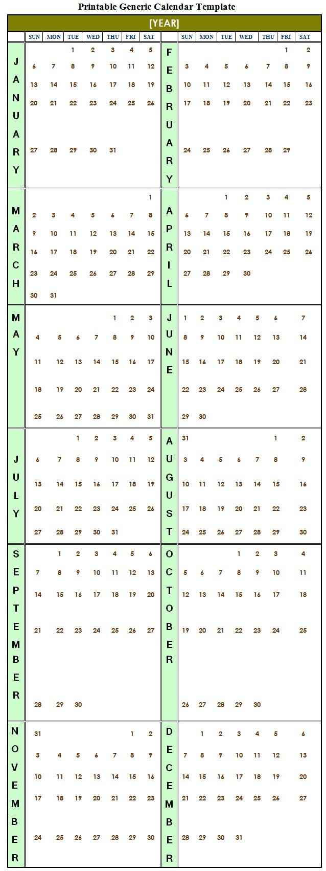 Printable Generic Calendar Template