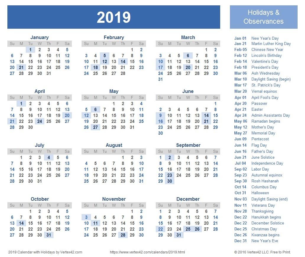 Holiday Calendar 2019 Printable