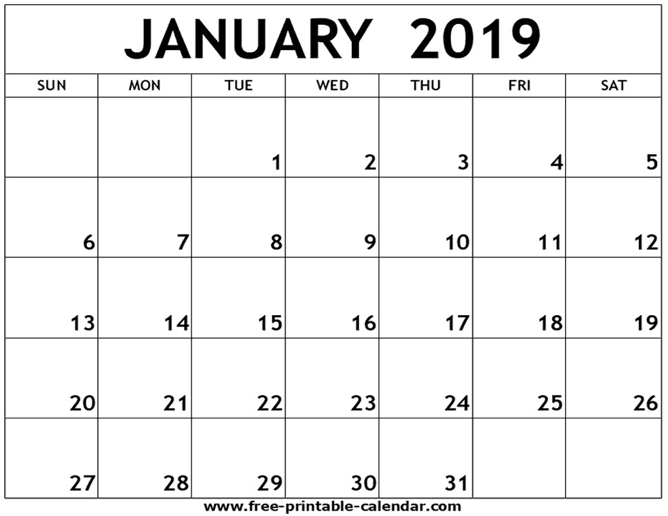 January 2019 Printable Calendar Free January 2019 Printable Calendar