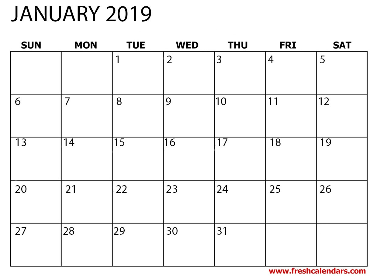 January 2019 Printable Calendar Free