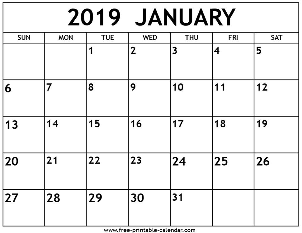 January Calendar 2019 Printable January 2019 Calendar Free Printable Calendar