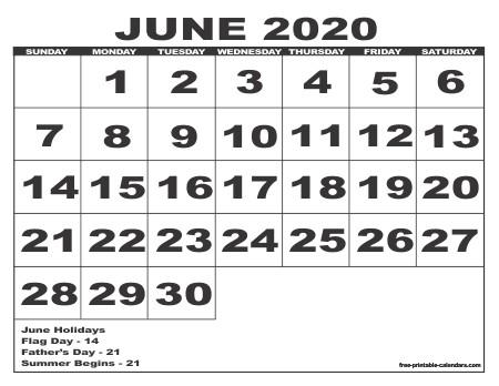 2020 Calendar Style 6 Free Printable Calendars