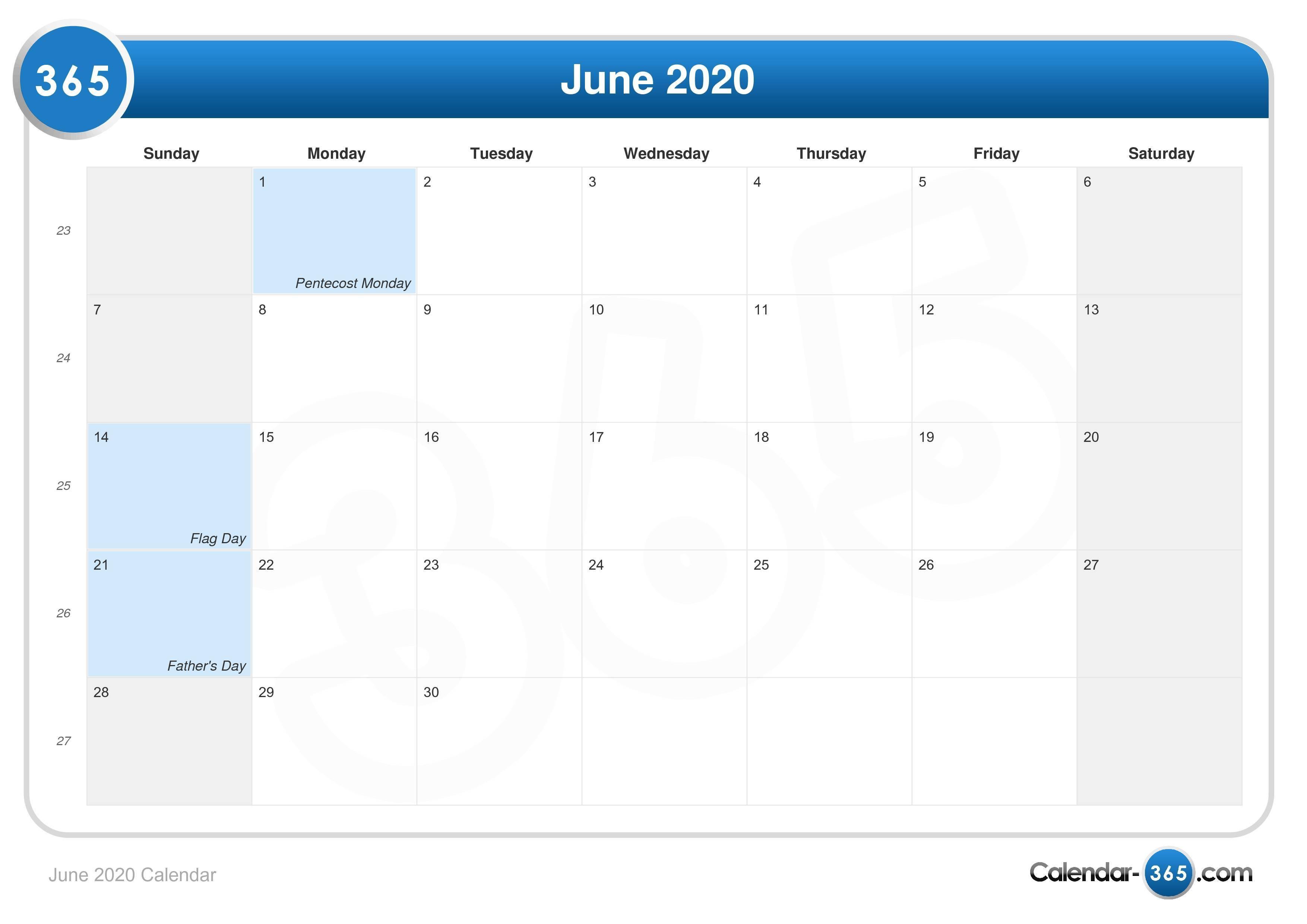 June 2020 Printable Calendar June 2020 Calendar