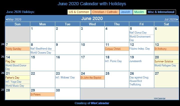 June 2020 Printable Calendar Print Friendly June 2020 Us Calendar for Printing