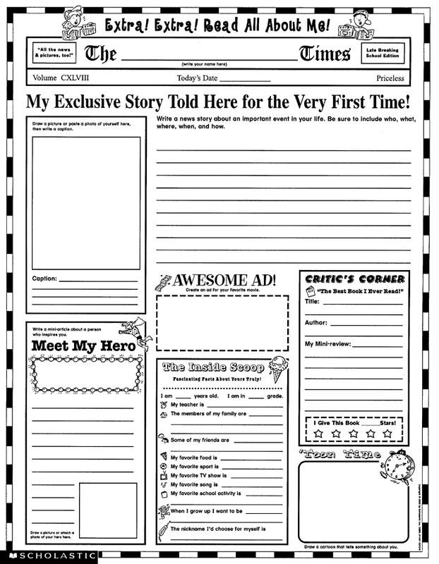 Colonial Newspaper Template For Kids