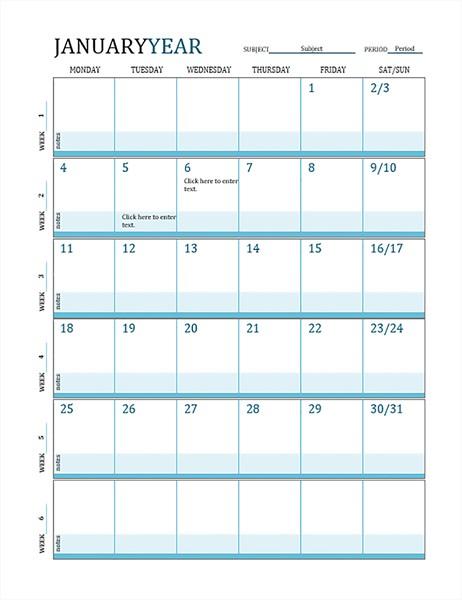 Lesson Plan Calendar Printable