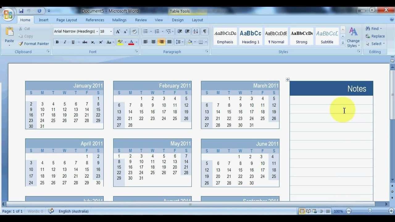 how to create a calendar in microsoft word
