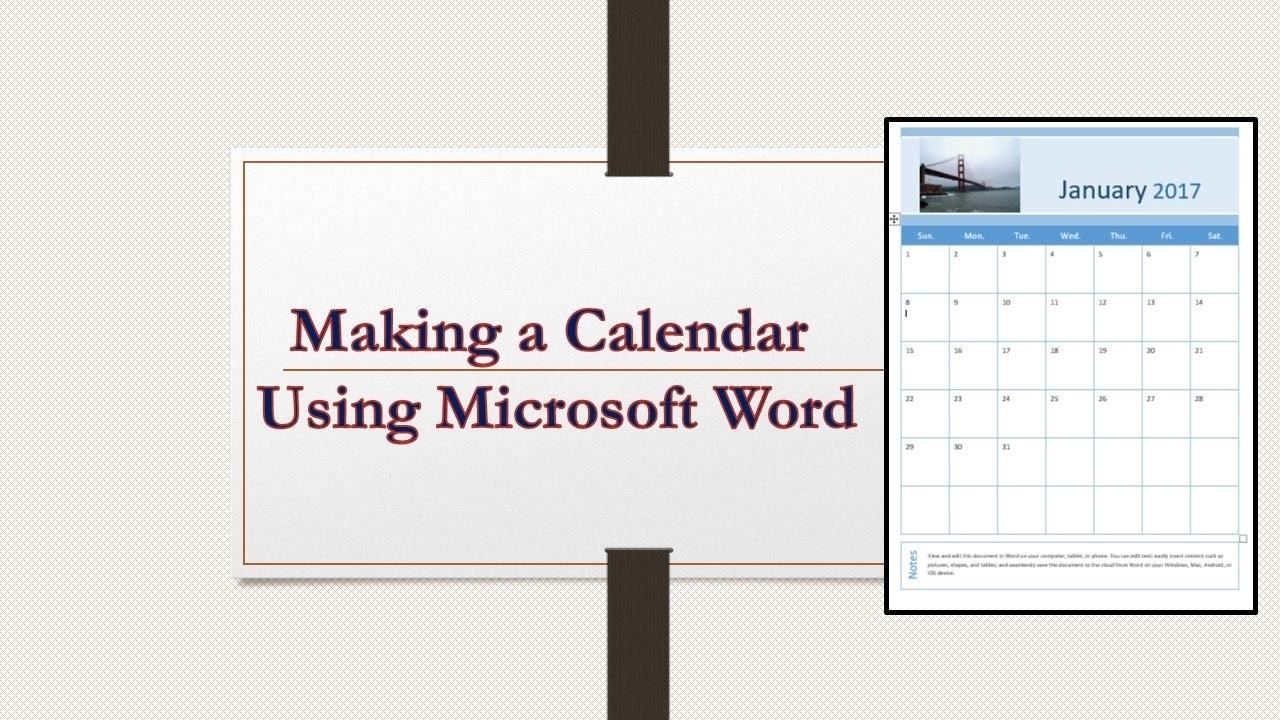 Making a Calendar using Microsoft Word 2016