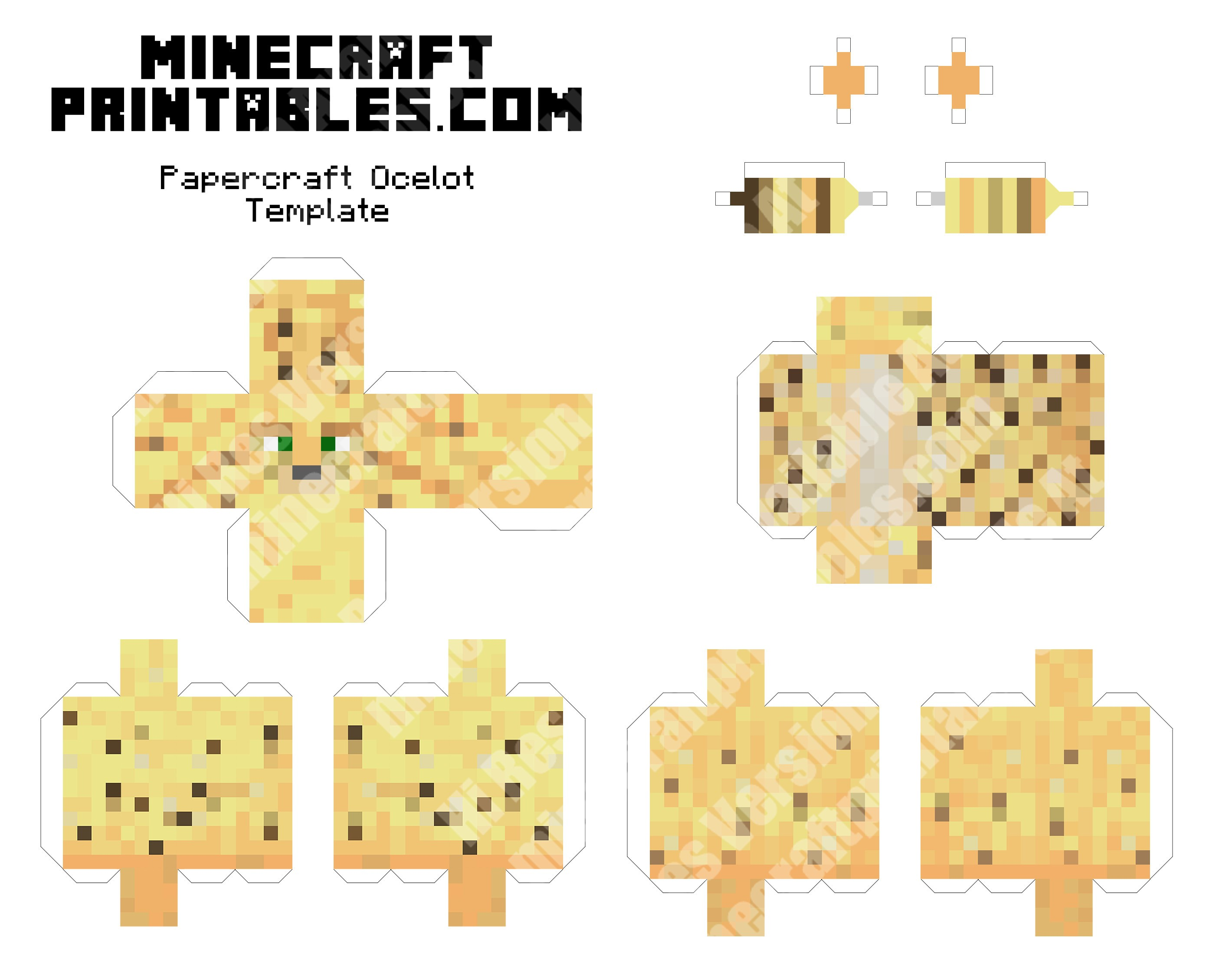 Ocelot Printable Minecraft Ocelot Papercraft Template